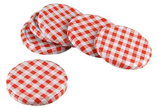 Fackelmann 48310 Couvercles à Visser pour Bocal Carreau 8,2cm 6 Pieces Rouge/Blanc, Fer, 8,2 x 8,2 x 1 cm