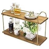 Modern Wood & Brass Tone Metal Floating Storage Shelf / 2-Tier Bathroom Vanity Organizer Rack
