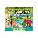 TOYLAND Dinosaurio plastilina Set - Niños Juguetes creativos - Incluye 4 Colores de la Masa, Moldes Dinosaurio + Accesorios