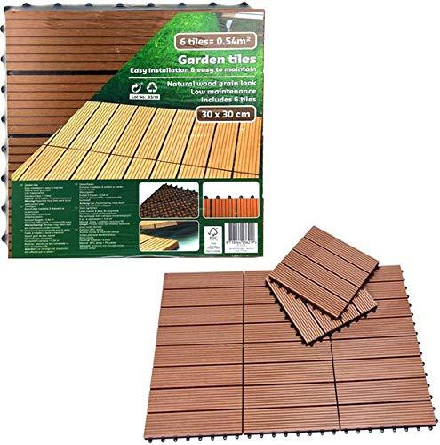 Pakket met 6 stuks kunststof tuintegels / terrastegels 30 x 30cm