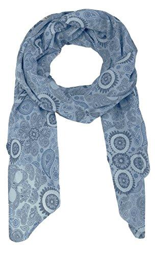 Cashmere Dreams Seiden-Tuch mit Paisley Muster - Hochwertiger Schal für Damen Mädchen - Halstuch - Umschlagstuch - Loop - weicher Schlauchschal für Sommer Herbst und Winter Zwillingsherz - blau