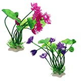 Suministros para animales 2 unidades de plástico para pescado y plantas artificiales para decoración de Lotus Orments de Acuario