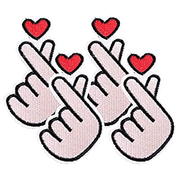 EKOI Kpop Korean Finger Heart Iron On Patches - Korean Hand Love Sign Patch Stitch Sew On Fabric Applique Embroidery Sticker Decal Pin for Jeans Cloth Backpacks Jackets  4 PC Bundle