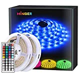 LED Strips: 5050 RGB LED strip light has 300 leds with 2 roll of 5m 150 leds, and with 44 key IR remote controller and 3A 12V power adapter. The strip is waterproof, can be used indoor or outdoor decoration. Multi-Color & DIY: LED tape strips lights ...