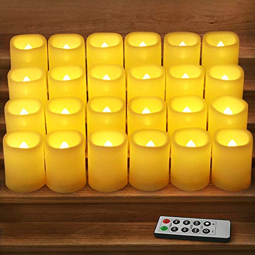 HOME MOST Set of 24 LED Votive Candles with Timer and Remote (IVORY) - LED Flickering Flameless Votive Candles Battery Operated - Wedding Votive Candles Bulk Rustic Wedding Decorations Reception Table