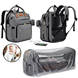 Naya's 3 in 1 Diaper Bag with Changing Station & Bassinet – Travel Diaper Backpack with Foldable Baby Bed, Portable Crib, Includes Mosquito Net, UV Sunshade, USB Port & Burp Cloth.