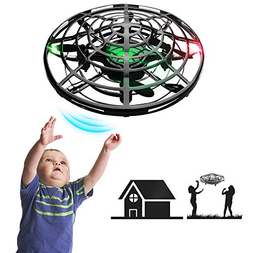 IOKUKI - Hand Operated Mini Drones for Kids & Adults with Shinning LED Lights, Small Drone UFO Flying Ball Toys for 8-12 Years Old Boys/Girls Gifts (Black)