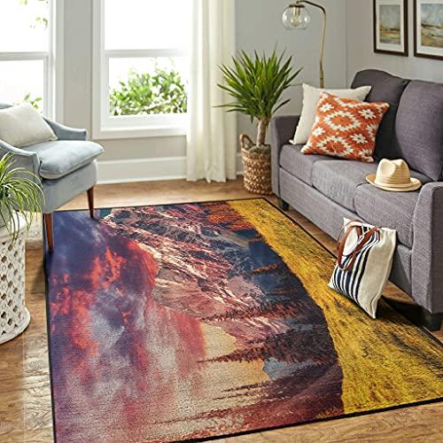 Veryday Alfombra vintage de bosque y montañas, para el salón, como felpudo para la puerta del dormitorio o la cocina, color blanco, 91 x 152 cm