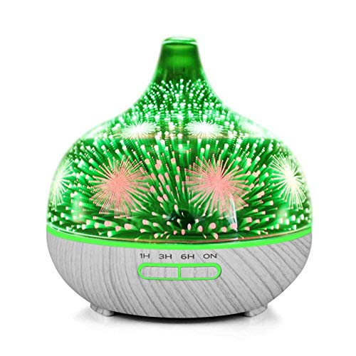 Humidificador Aceites Esenciales Humificador Humidificador De Vidrio De Fuegos Artificiales 3D Con 7 Colores Led De Luz Nocturna Aroma Aceite Esencial Difusor Silencioso Humidificador Ultrasónico De