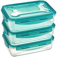AmazonBasics: Juego de almacenamiento de comida hermético de 3 unidades de AmazonBasics, 3 x 1,2 L