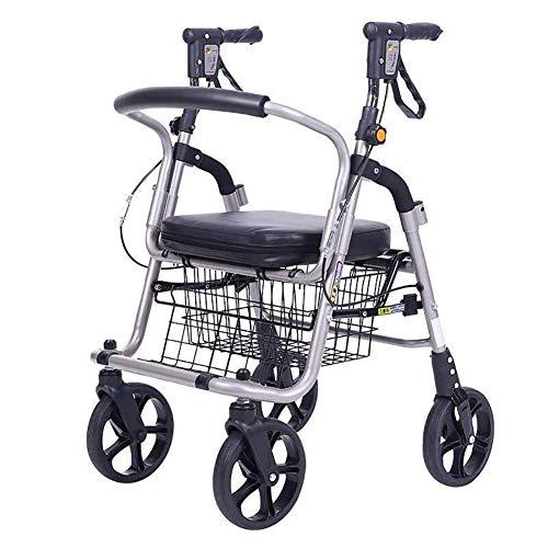 Y-L Aluminium Rollator Lichtgewicht Opvouwbare Kruidenier Winkelwagen Dubbele Paal Ondersteuning Trolley Trapklimmen Rolstoel met Pad Seat Manden