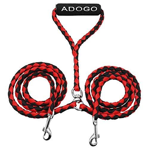 ADOGO Divisor de Plomo para Perros, Correa Doble para Perros sin enredos para Caminar y Entrenar 2 Perros (Red)