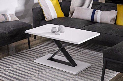 Endo salontafel Lars woonkamertafel industriële 100x60 metalen frame loftdesign Wit hoogglans