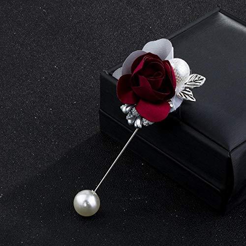 WSNBB Brosche Tuch-Kunst-Perlen-Blumen-Brosche Stoff Lange Nadel Revers Pin-Hemd-Schal-Schal Schnalle Mantel Abzeichen für Frauen Accessoires,Rotwein