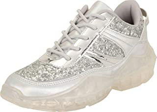 Cambridge Select Women's Low Top Retro 90s Ugly Dad Glitter Lace-Up Chunky Clear Platform Fashion Sneaker