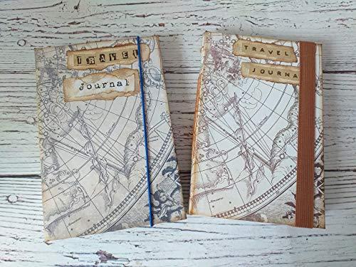 Diarios de viaje vintage hechos a mano, A6, encuadernación cosida, cuadernos de viaje mapa estelar