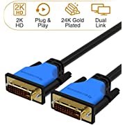 BlueRigger DVI to DVI Cable (6 Feet, Monitor Cable, Dual Link, Male to Male, Black)