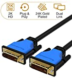 BlueRigger DVI to DVI Cable (3 Feet, Monitor Cable, Dual Link, Male to Male, Black)