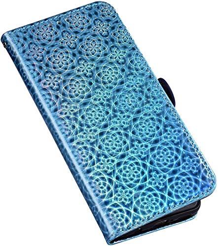 QPOLLY Schutzhülle für Huawei Honor 7A Hülle Diamant Leder Strass Bling Tasche Leder Flip Case 3D Glitzer Shiny Bunt Handyhülle Glitzer Brieftasche Handytasche für Huawei Honor 7A,Blau