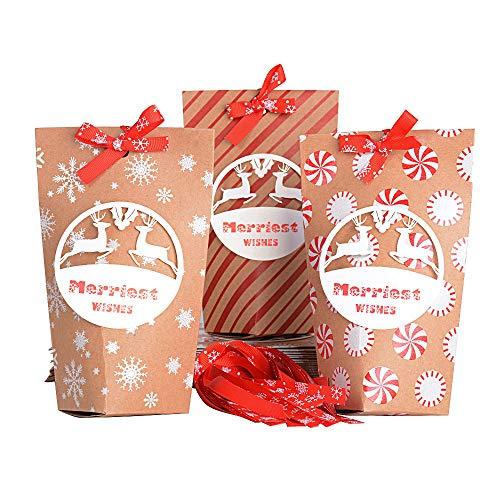 SERWOO 24pcs Bolsas Papel Kraft para Navidad Regalos Fiesta Compras Alimentos 3 Diseños (15,8 * 5 * 5cm)