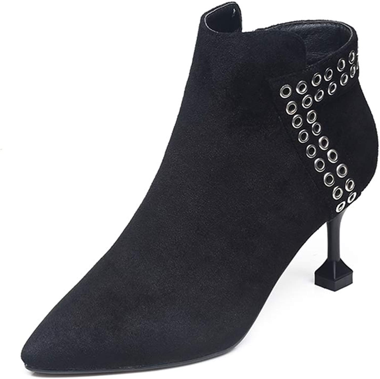 Stylish Sexy Rivet Black Ankle Boots for Women shoes Pointed Toe Thin High Heels Zipper Chelsea Boots