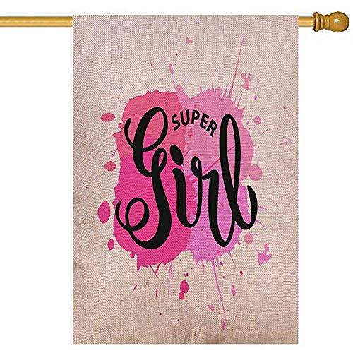 jiaxingdalin Herbst Haus Flagge Zoll vertikale sackleinen Fahnen skizziert Super Girl Aquarell-Effekt Hintergrund Kleidung Kinder Abzeichen Tag Icon Great Card