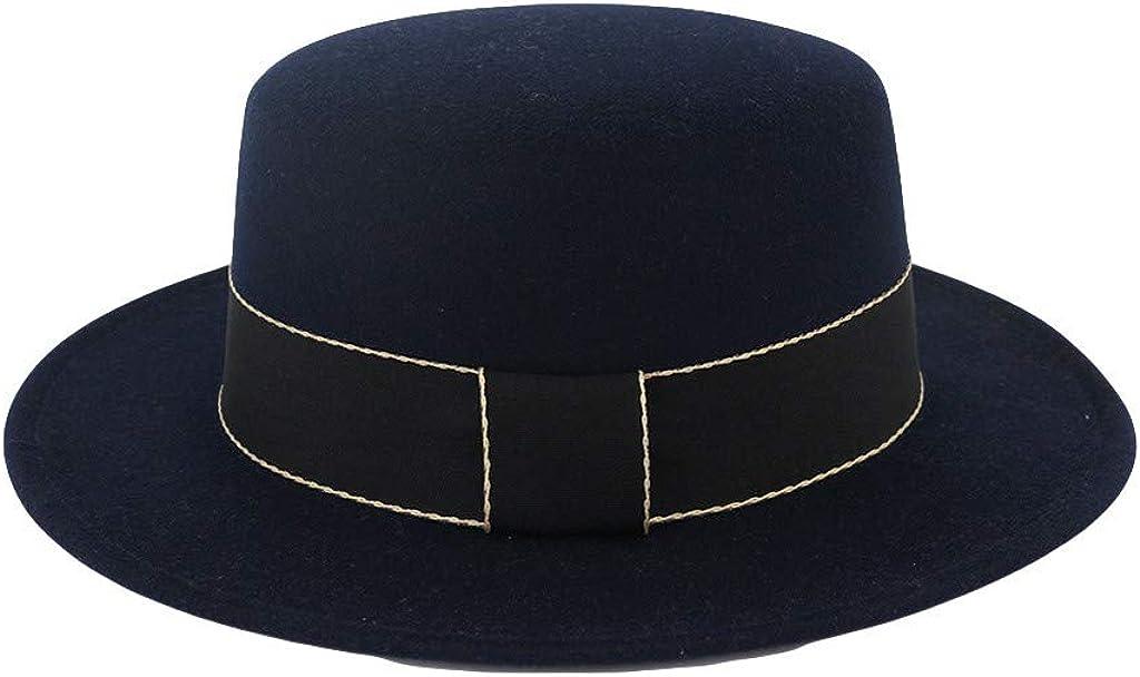 iDWZA Unisex Wide Brim Wool Felt Flat Top Fedora Hat Party Church Trilby Hats Cap