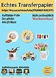 TransOurDream ECHTE Inkjet Wasserschiebefolie(TRANSPARENT) für Tintenstrahldrucker,A4X20 Blatt, Transferfolie,Bedruckbares Aufklebepapier für Spielzeugmodelle,Tassen,Keramik, Glas,Kerze (6-20)