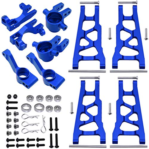 Hobbypark Aluminum Steering Blocks Caster Blocks C-Hubs Stub Axle Carriers and Alloy Suspension Arms Set (Front & Rear) for 1/10 Traxxas Slash 4x4, Replacement of 6837 6832 1952 3655x (Navy Blue)