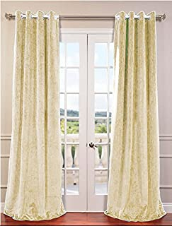 Royal-Fascination Window/Door 100% Thick Cotton Velvet Lined Blackout Eyelet/Gormmet Curtain- 135 cm W X 160 cm H-Ivory