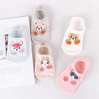 ZHANGNUO, 10 Piezas = 5 Pares Cute Cartoon Cat Boat Calcetines Mujeres Verano Primavera Moda Salvaje Boca Baja Calcetines Invisibles Tobillo Calcetines Divertidos Negro