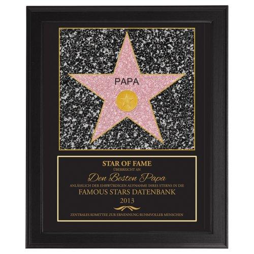 Casa Vivente Star of Fame Papa, Hollywood Stern, Urkunde, Wanddeko im dunklen Bilderrahmen, Personalisiert mit Jahreszahl, Druck gerahmt als Vatertagsgeschenk, Geschenke für Männer