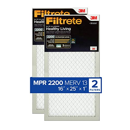 Filtrete 16x25x1, AC Furnace Air Filter, MPR 2200, Healthy Living Elite Allergen, 2-Pack (exact dimensions 15.69 x 24.69 x 0.78)
