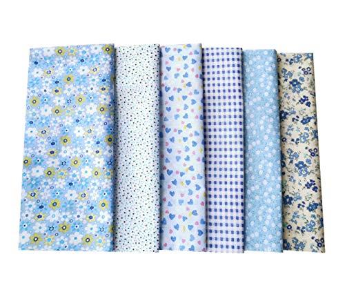 BTkviseQat Baumwollstoff Stoffpaket,DIY 6 Stück Mehrfarbig 50 cm x 50 cm, Stücke Stoffe zum Nähen Patchwork Stoffe Paket