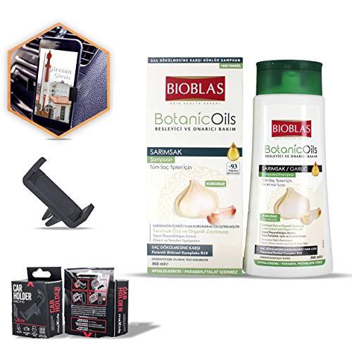 2x Bioblas Knoblauch Shampoo 360 ml, Geruchlos, Anti Haarausfall Frauen und Männer + 1x KFZ Halterung