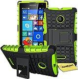 Microsoft Lumia 435 Handy Tasche, FoneExpert® Hülle Abdeckung Cover schutzhülle Tough Strong Rugged Shock Proof Heavy Duty Hülle für Microsoft Lumia 435 + Bildschirmschutzfolie (Grün)