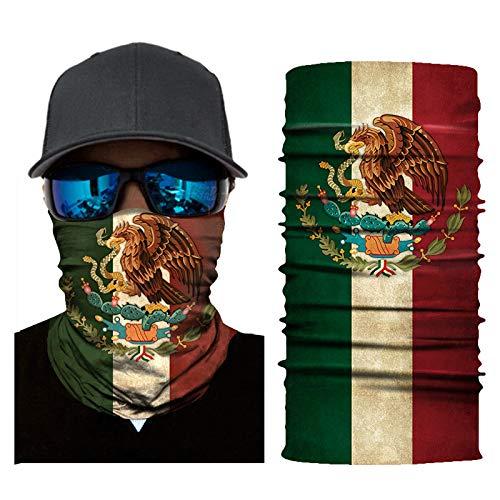 Wigoo - Pasamontañas mágico sin costuras | Máscara deportiva de sol para motociclista, MX Flag...