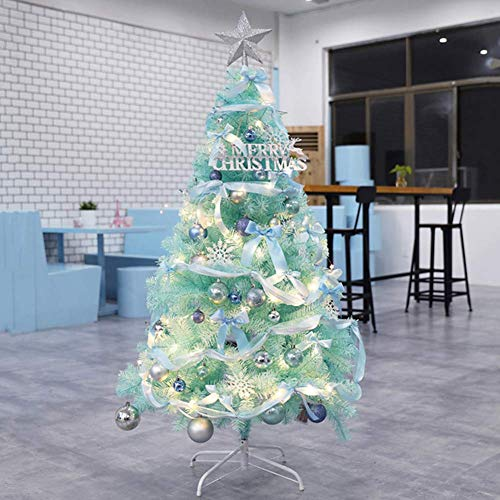 KAUTO Artificial Christmas Tree,Holiday Decor PVC Hinged Spruce Full Tree with Ornaments and LED Lights for Indoor and Outdoor-Blue 5ft(150cm)