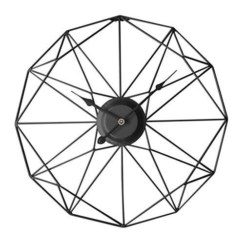 Jo332Bertram 3D 50cm Vintage Wanduhr Groß Wanduhr Uhr Metall Ohne Tickgeräusche Dekorative Wanduhr für Küche Wohnzimmer Büro - Schwarz