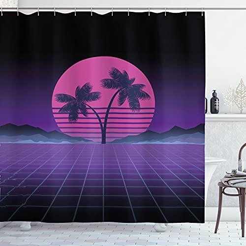 ABAKUHAUS Synthwave Duschvorhang, Gestreifte Mond Exotische Palmen, Waserdichter Stoff mit 12 Haken Set Dekorativer Farbfest Bakterie Resistet, 175 x 200 cm, Indigo Lila Pink