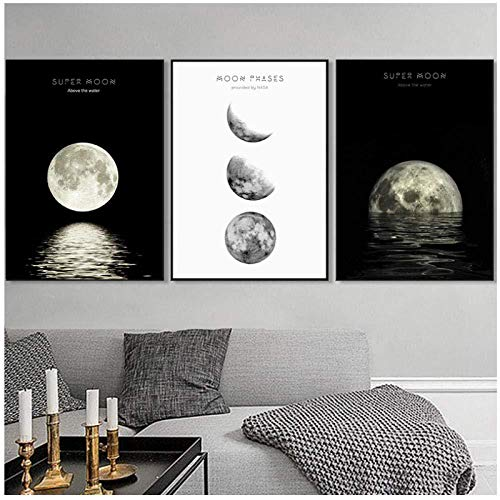 RomantiassLu Abstrakte Mondphasen Leinwand Malerei Mond Poster Schwarz und Whitewall Kunst Bilder Für Wohnzimmer Home Office Decor Kein Rahmen