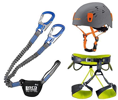 LACD Klettersteigset Pro Blue + Klettergurt Camp Größe S + Helm Titan Grey 48-56cm
