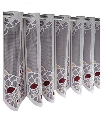Albani Scheibengardine nach Maß Jacquard- Lamellenpanneau Panneaux Bistrogardine Höhe 45 cm - Breite der Gardine durch Stückzahl in 16 cm Schritten wählbar weiß- Beere