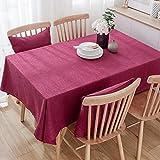 Mantel de Lino Decorativo Simple, Tela de Banquete de Boda teñida de Hotel Rectangular Engrosada 140x180cm Rojo