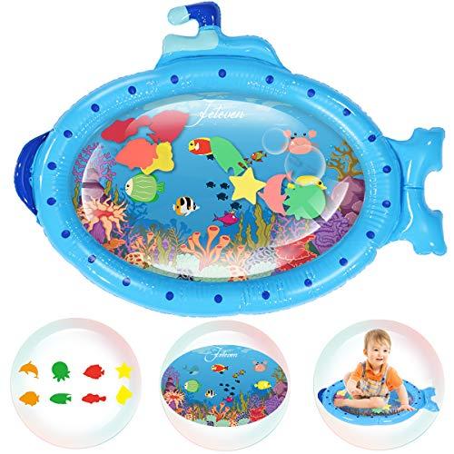 Jeteven Wassermatte Baby Wasserspielmatte Baby Aufblasbare Spielmatten Auslaufsichere Blaues U-Boot Baby Wassergefüllte Spielmatte Spielzeuge für frühe Entwicklung des Säuglings (86x68CM)