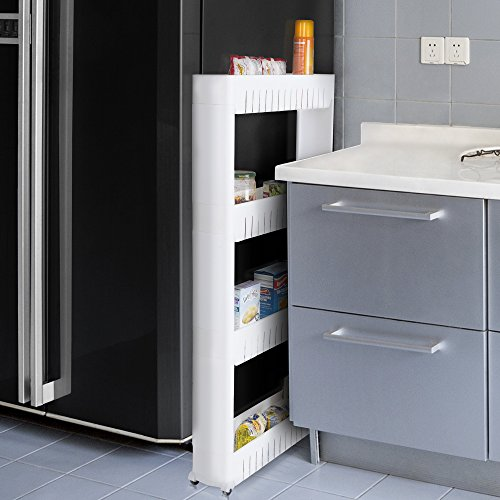 A slide-out storage shelf for beside the fridge is a great kitchen space saver idea
