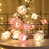 LED String Light, Decorative Fairy Lights Warm White, 20 Rose Flower 9.8Ft, 2 Modes, Battery Operated, Decor Night Lights for Wedding Festival Party Home Bedroom Wall Christmas Decoration