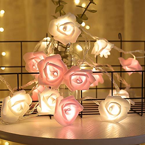 Fulighture LED Lichterkette,Rosen Lichterkette weiß mit 20er Blumen, 3M/9.85 Füße Batteriebetrieben, Warmweiß Rosenblütenkette Romantische Atmosphäre Dekoration