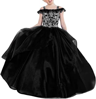 VeraQueen Girl's Princess Beaded Straps Ruffle Pageant Dresses with Pockets Off Shoulder Organza Ball Gowns Flower Girl Dress