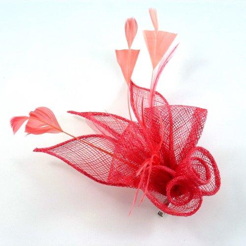 rougecaramel - Accessoires cheveux - Broche fleur ou pince fleur en sisal pour mariage cérémonies - corail